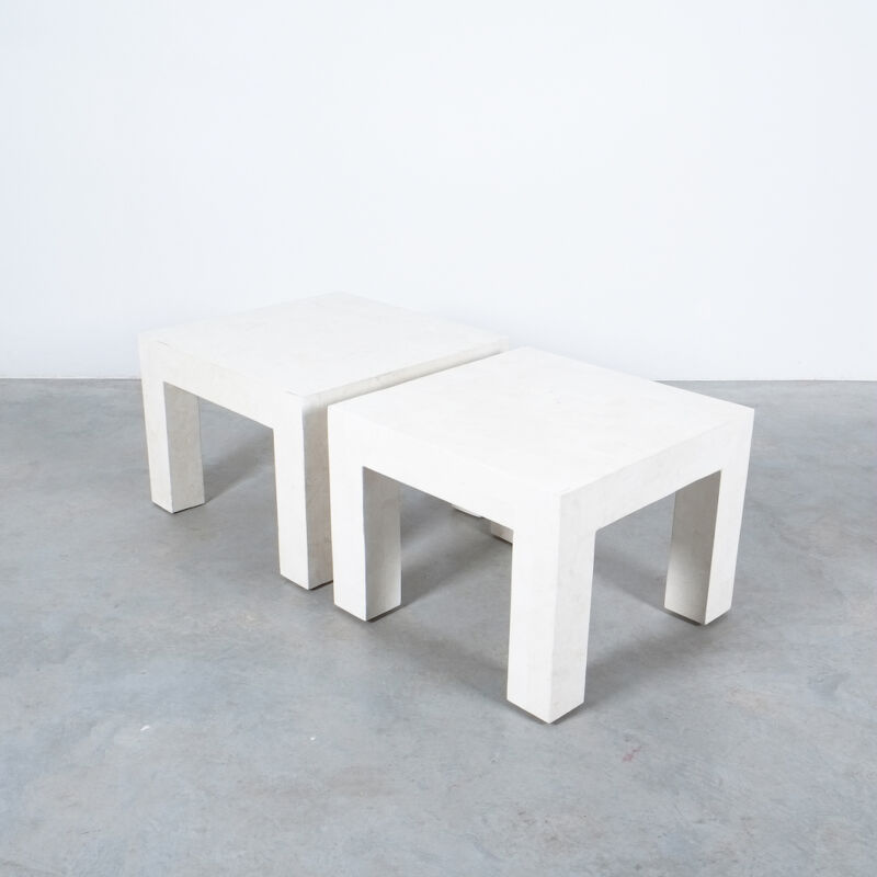 Marble Tile Tables White Pair 08