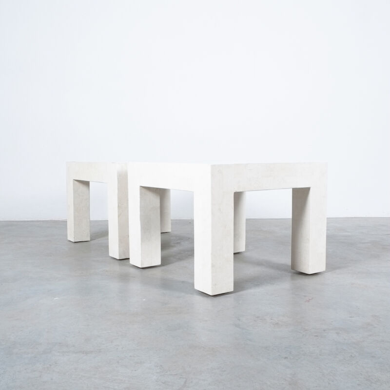 Marble Tile Tables White Pair 09