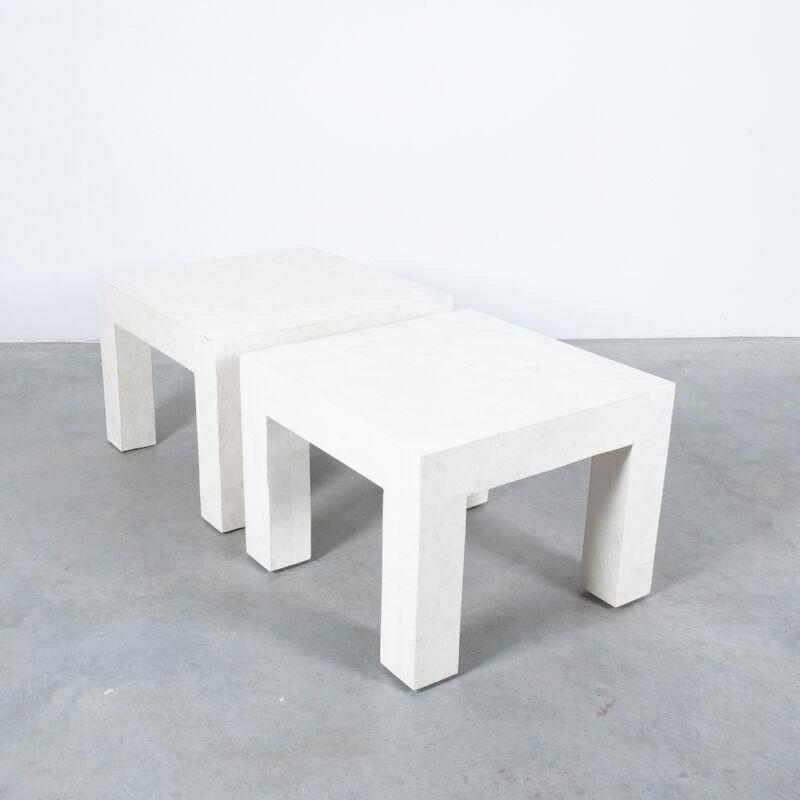 Marble Tile Tables White Pair 10