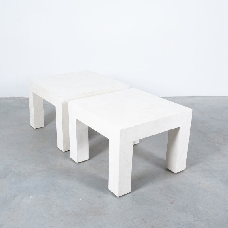 Marble Tile Tables White Pair 10