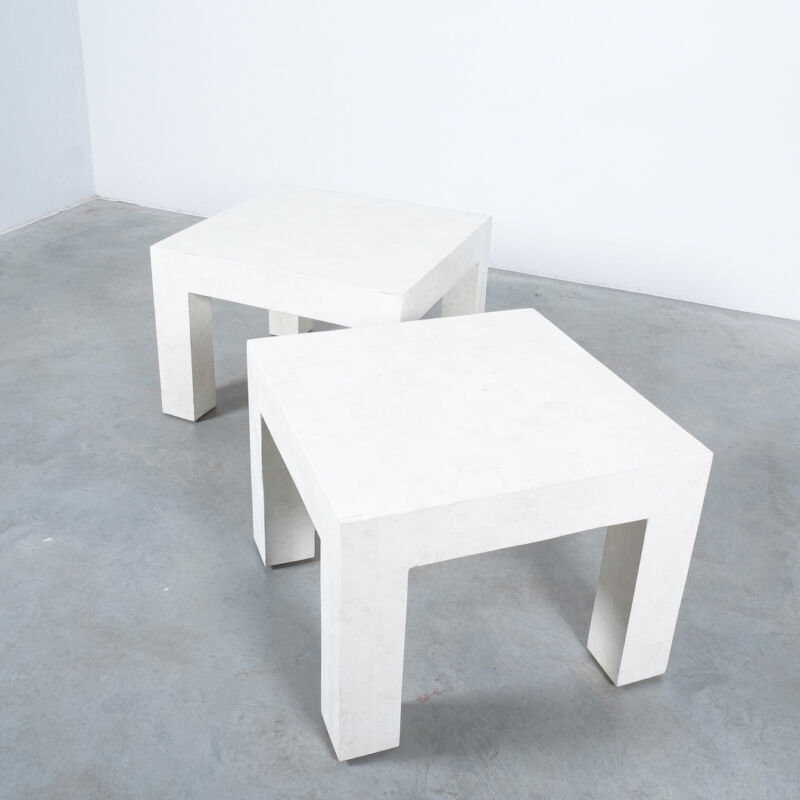 Marble Tile Tables White Pair 11
