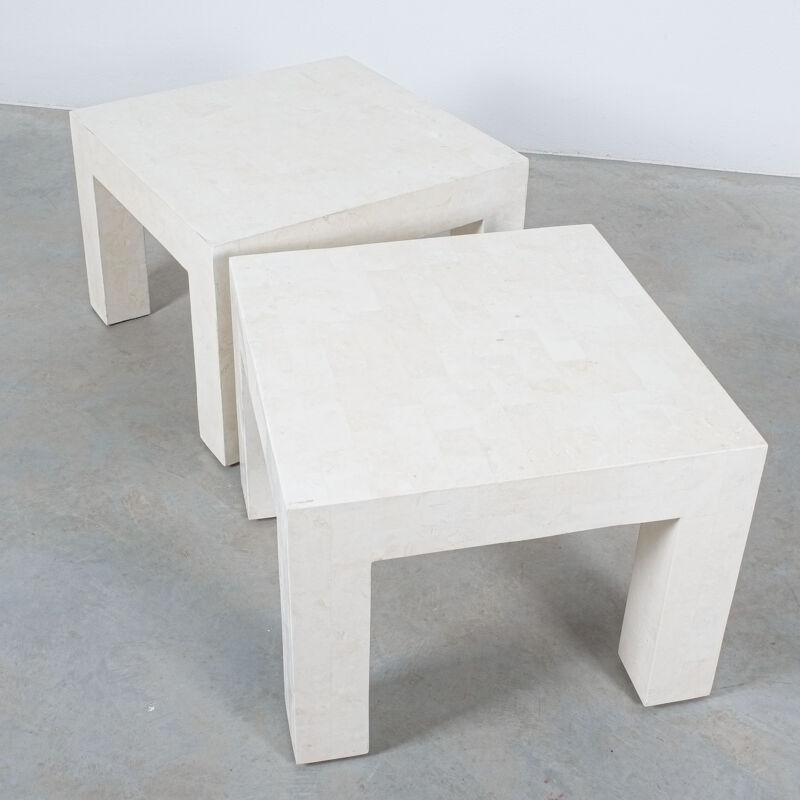 Marble Tile Tables White Pair 15