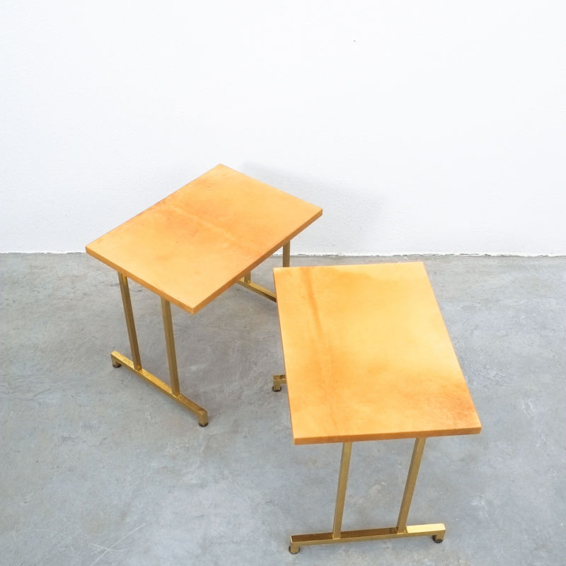 Pair Aldo Tura Parchment Tan Tables 03