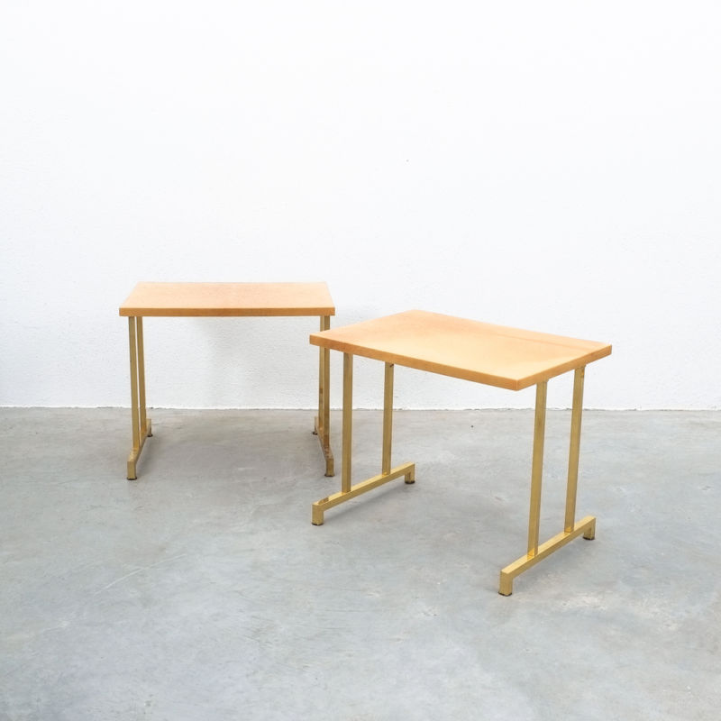 Pair Aldo Tura Parchment Tan Tables 07