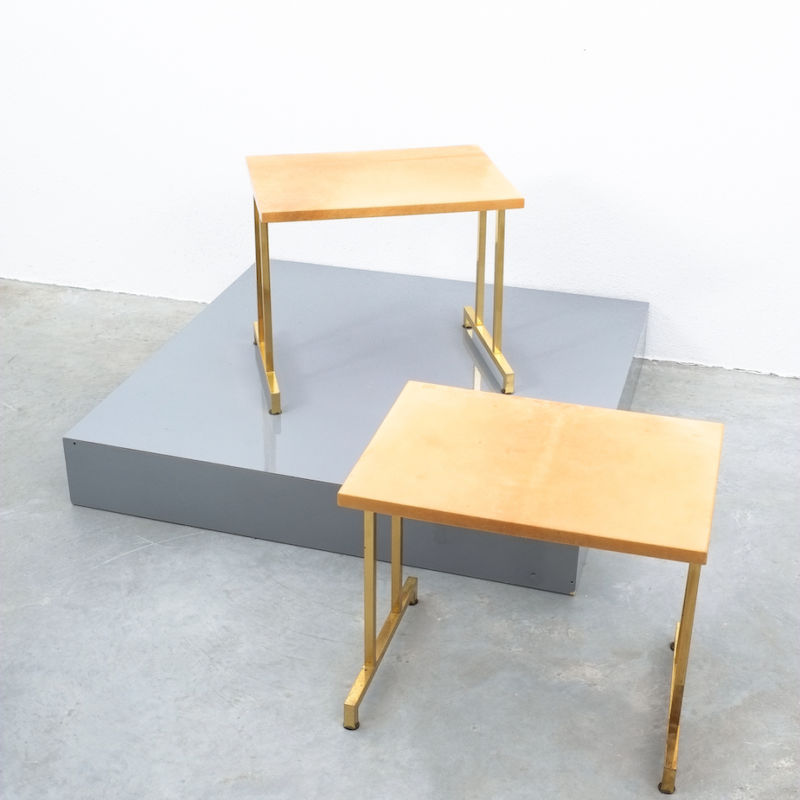Pair Aldo Tura Parchment Tan Tables 10