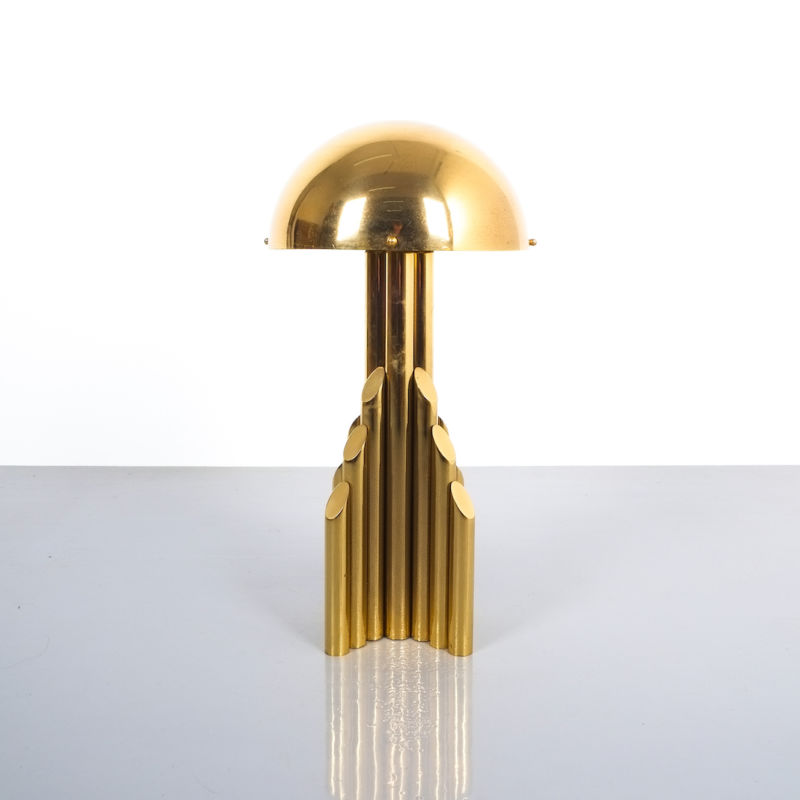 pair brass tube lamps 07