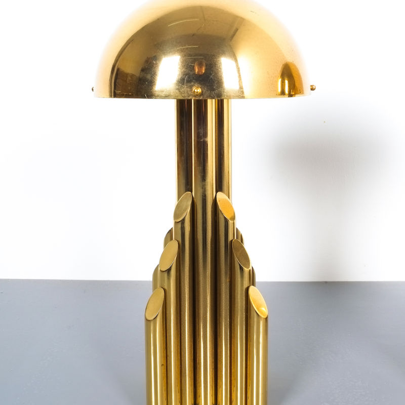 pair brass tube lamps 08