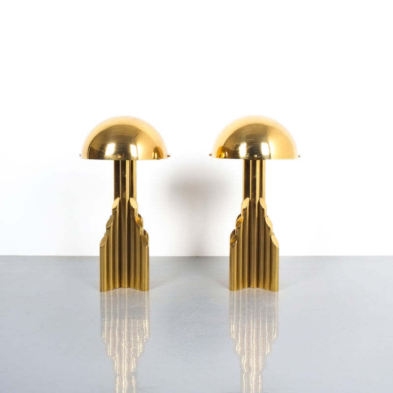 pair brass tube lamps 09