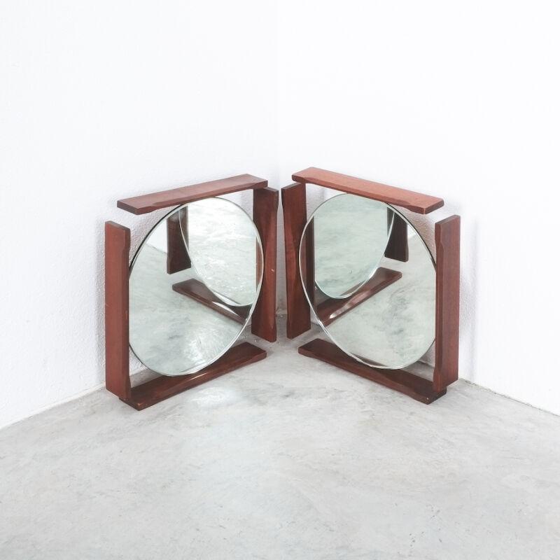 Pair Danish Wood Mirrors 01