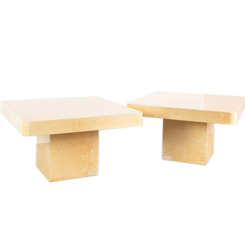 Pair Parchment Tura Coffee Tables 09