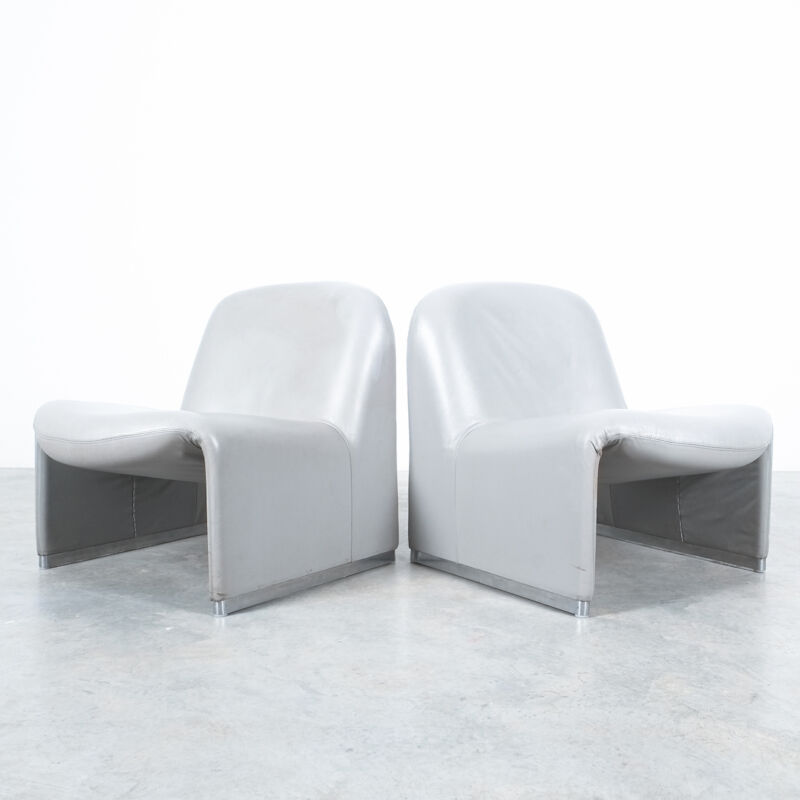 Piretti Alky Chairs Grey Leather 12