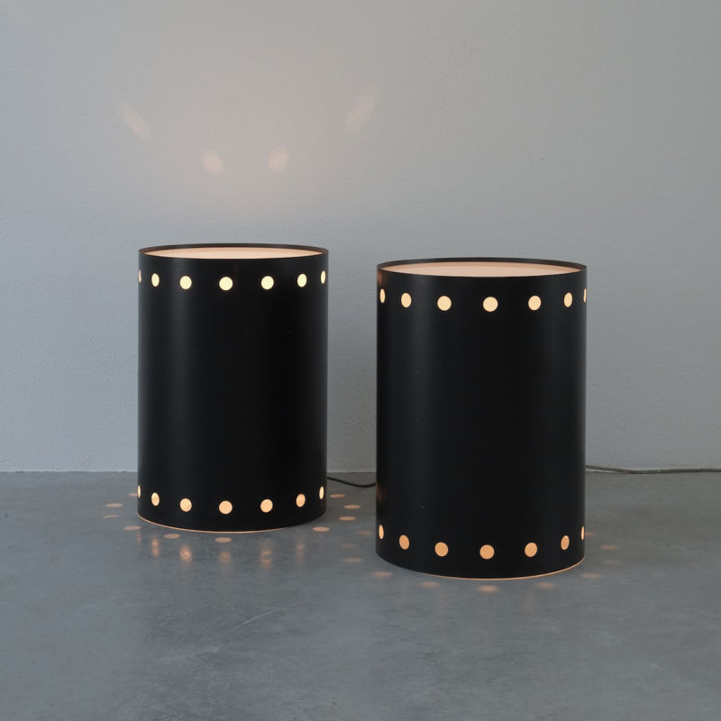 Rare Pair Staff Light Side Tables 01