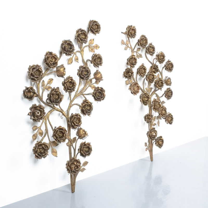 Rose Bush Brass Iron Wall Lamps 07