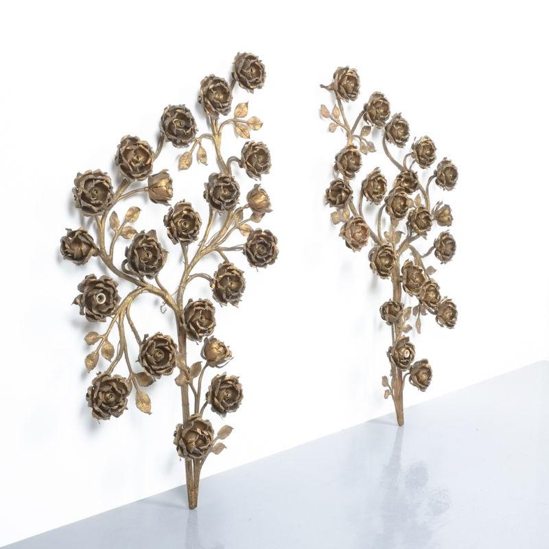 Rose Bush Brass Iron Wall Lamps 07