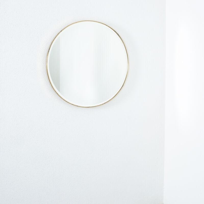 Round Brass Mirror Italy 1950 01