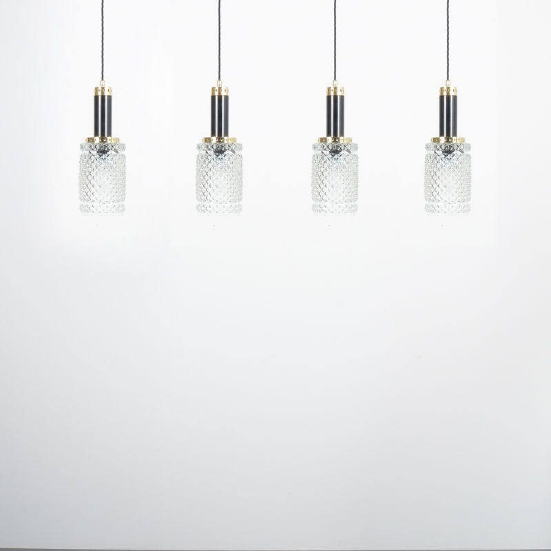 Stilnovo Pendants Brass Textured Glass 07