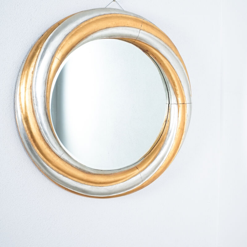Swirl Wood Silver Gold Mirror 02
